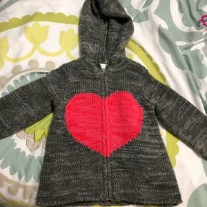 Hooded heart zip-up sweater
